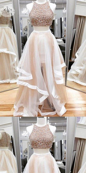 Fashion A-line Two Piece Organza Long Prom Dresses With Beading, Party Dresses, Evening Dresses,PDY0314
