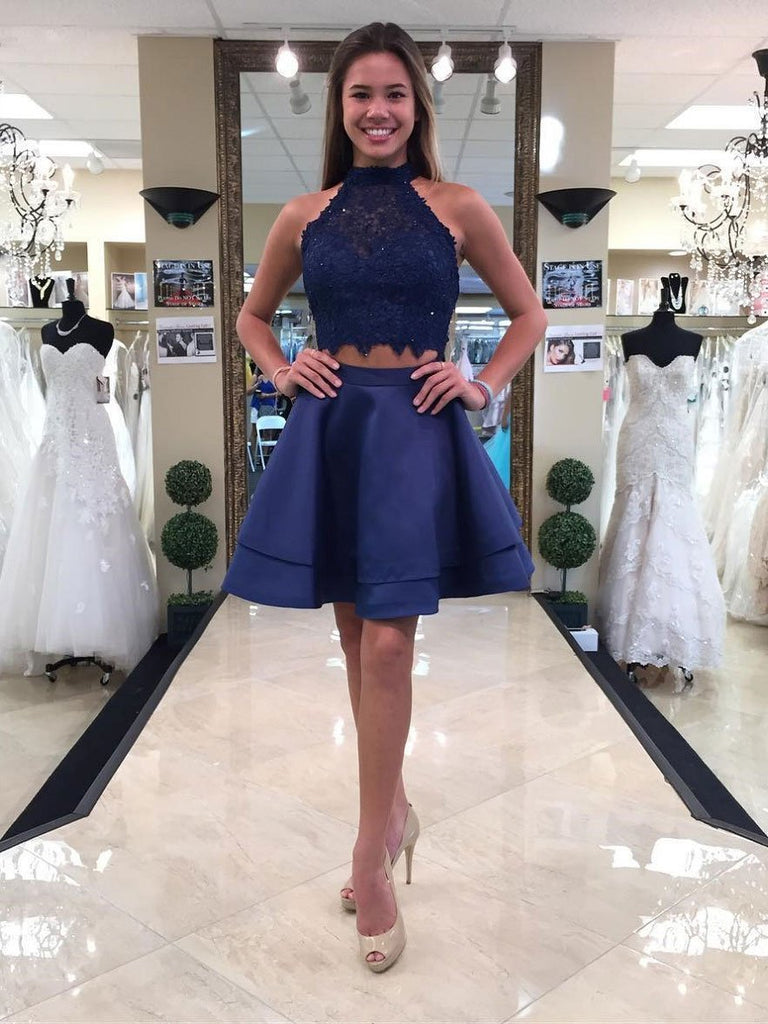 Two Pieces Blue Lace Halter Cheap Homecoming Dresses , CM410