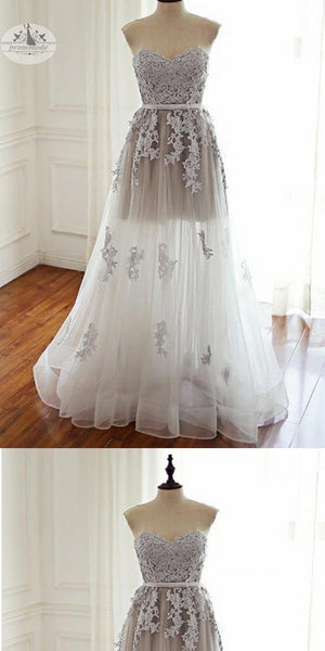 2019  Sweetheart Floor-Length Ivory Tulle Prom Dress with Appliques,Evening Party Dresses,PDY0312