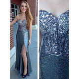 Sweetheart Blue Long Strapless Rhinestone Sequin Floor-length  Prom Dress/Evening Dress,PDY0271