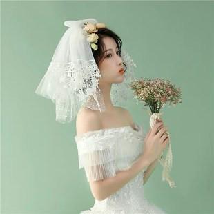 White Short Multi-layer Tulle Wedding Veil With Lace Appliques For Wedding Party, EPR02