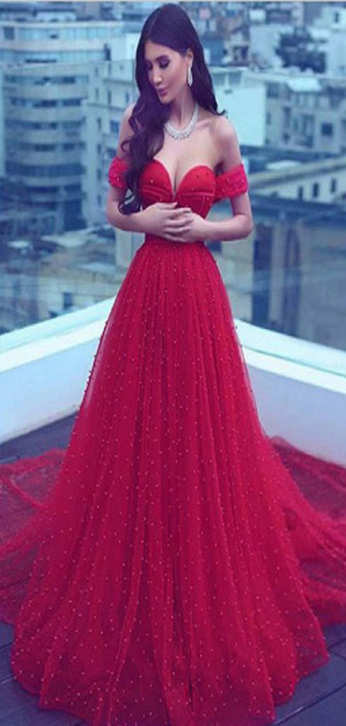 A-Line Off-the-Shoulder Court Train Dark Red Tulle Prom Dress With Beading ,Wedding Dress,Party Dresses,PDY0325