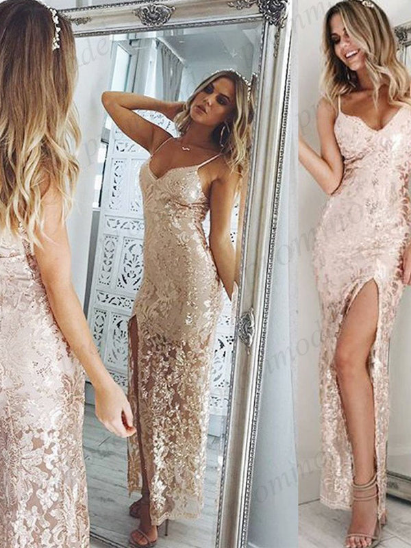 Charming Backless Sheath Spaghetti Straps Lace Ball Gown,Long Prom Dress,PDY0381