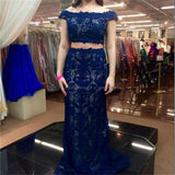 Cap Sleeves Two Pieces Blue Elegant Lace Most Popular Evening Cocktail Prom Dress  ,PDY0148