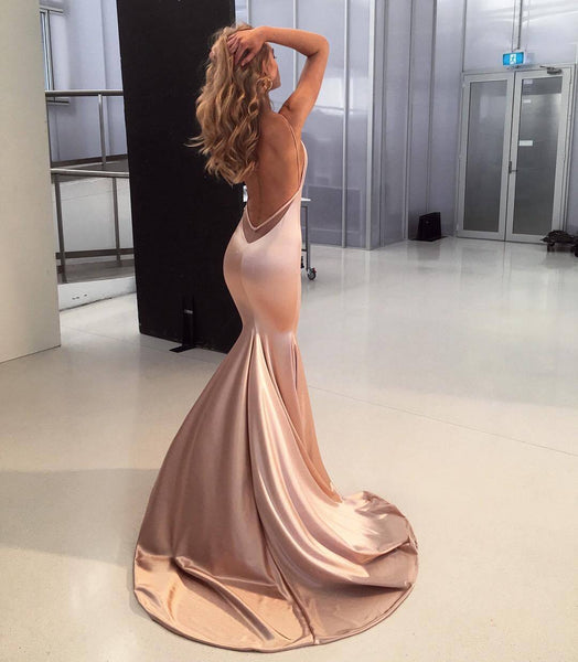 Mermaid V-neck Champagne Satin Long Prom Dresses,Cheap Prom Dresses,PDY0509