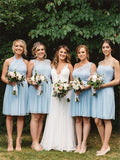 A-line Knee-length Sleeveless Lace Top Short Chiffon Bridesmaid Dresses, BD1002