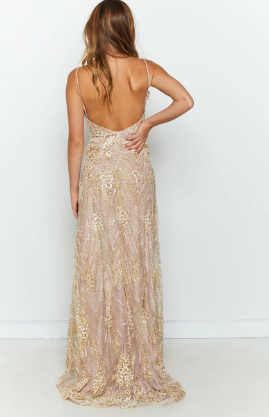Sheath Spaghetti Straps V-neck Long Backless Prom Dresses, PD1021