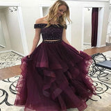 Off Shoulder Beaded Top Two Pieces Burgundy Long Prom Dress,Formal Dresses,PDY0268