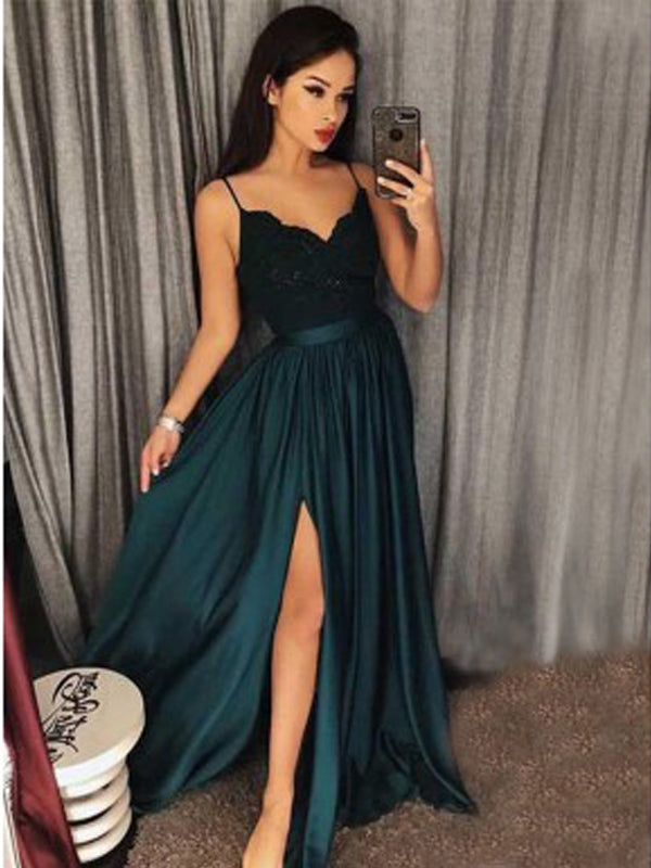 Sexy Dark Green Spaghetti Straps Split Lace Long Prom Dress With Belt,Evening Dresses,Party Dresses,PDY0336