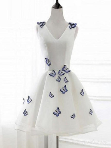 A-line V-neck White Appliqued Butterfly Homecoming Dress with Lace-up Back, EPR0009