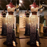 Sparkly Gold And Black Front Split Two Pieces Rhinestone  Modest Prom Dresses, Party Bridal,PDY0222