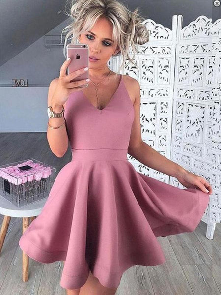 Spaghetti Straps Pink Cheap 2018 Homecoming Dresses Under 100, CM402