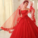 Red Tulle Wedding Veil With Lace Appliques For Wedding Party, EPR01