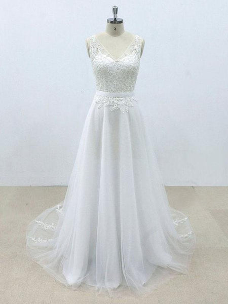 Simple V Neck Tulle Skirt Lace A-line Wedding
