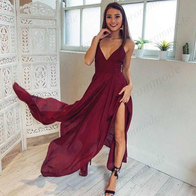 Elegant Chiffon Dark Red Spaghetti Strap V-neck  Prom Dresses,Evenning Party dresses,PDY0208