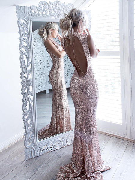 Mermaid Sparkle Beaded Sequins Bodice Backless Prom Dress For Senior Teens,Sexy Evening Dresses, PDY0178