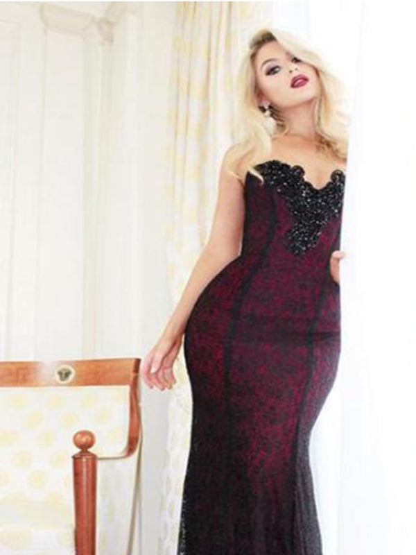Sweetheart Handmade Beaded Long Mermaid Black Lace Prom Dresses,Evening Party Dress,PDY0368