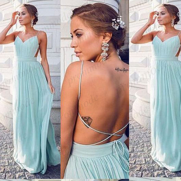 Charming  Green Chiffon Spaghetti Straps Backless Floor Length Bridesmaid Dress,Wedding Party Dresses,WGY0229