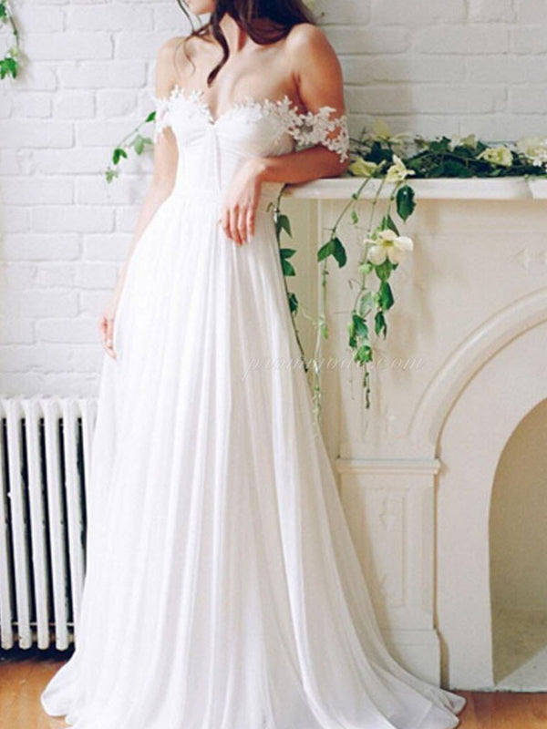 Popular Off Shoulder Long A-line White Chiffon Sexy Lace Wedding Dresses, WDY0103