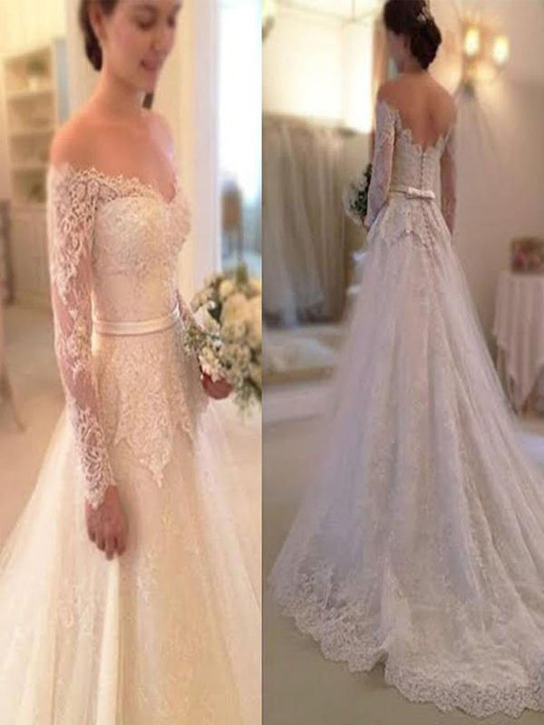 Simple Long Sleeve Off The Shoulder Lace Elegant Vintage Wedding Party Dresses,WDY0151