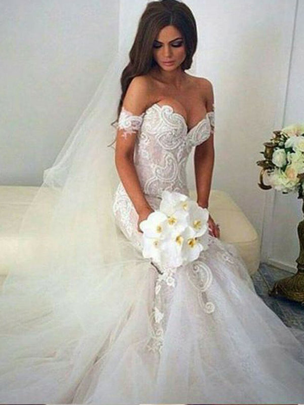 Newest Mermaid Off -Shoulder Lace Tulle White Elegant Formal Lace Charming Wedding Dresses,WDY0158