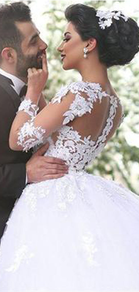 White Tulle Sweetheart Long Sleeves Lace Wedding Dress, Cheap Dresses For Wedding Party ,WDY0161