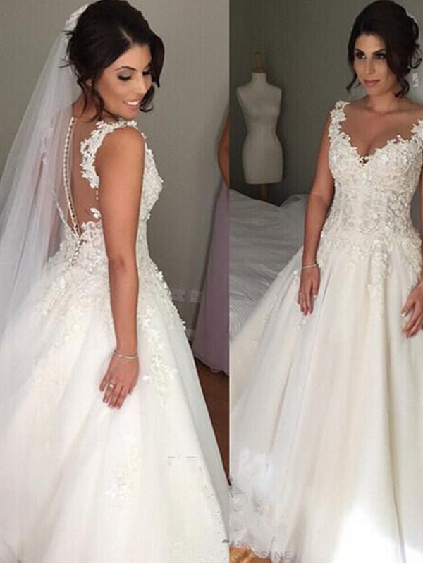 Charming Straps V-neck Empire Long Wedding Dresses With Beading,Dresses For Wedding Party ,WDY0165