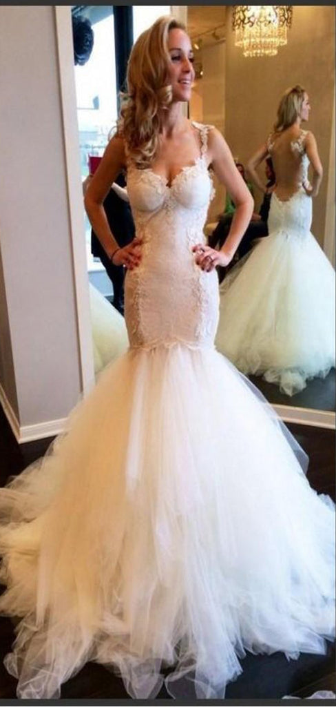 Stunning Tulle Sexy Straps V-Neck Mermaid Wedding Dresses With Lace Appliques,WDY0171
