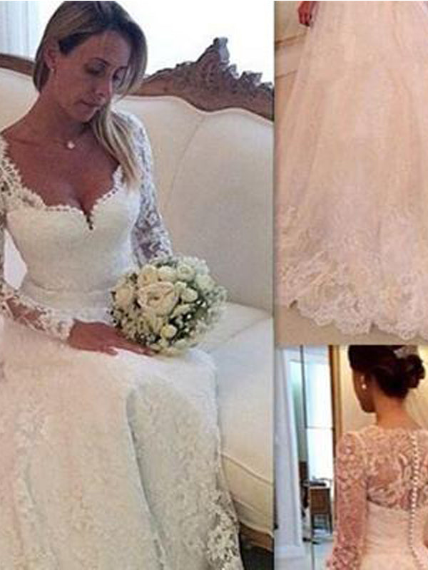 Cheap Long Sleeves  A Line White Tulle Beach Wedding Dress , Wedding Party,WDY0196