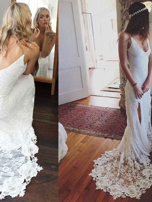 Gorgeous Straps V-neck White Lace Long Side Slit Wedding Dresses, Bridal Dress WDY0201