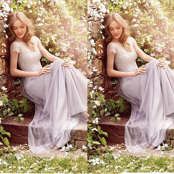 Sweetheart Lace & Tulle A-line Long Bridesmaid Dresses,Wedding Party Dresses,WGY0188
