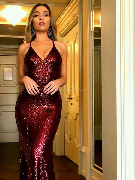 Charming Red Sequin Sexy Mermaid Prom Dresses, Popular Modest Prom Dress, Fashion Tend, PDY0149