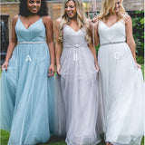 Backless V-neck Spaghetti Straps Tulle Bridesmaid Dresses,Cheap Bridesmaid Dresses,WGY0261