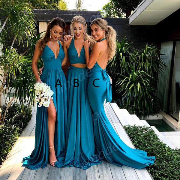Fabulous Side-Slit V-neck Blue Bridesmaid Dress,Formal Evening Dresses,WGY0210