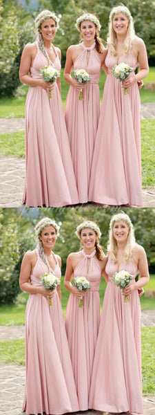 Popular Pink Long Chiffon Elegant Bridesmaid Dresses, Cheap Prom Dress Gown WGY0111