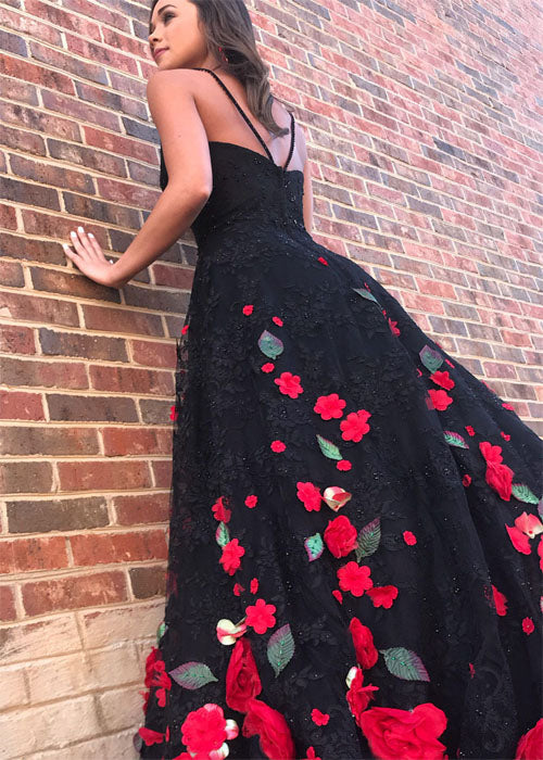 Gorgeous Black Flower Lace Long Customize Prom Dress, Black Evening Dress. PDY0192