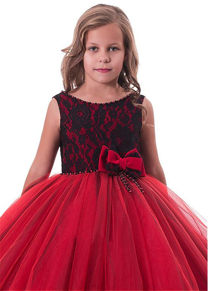 Attractive  Tulle & Lace Scoop Full Length Ball Gown Flower Girl Dresses With Lace Appliques & Beadings,FGY0162