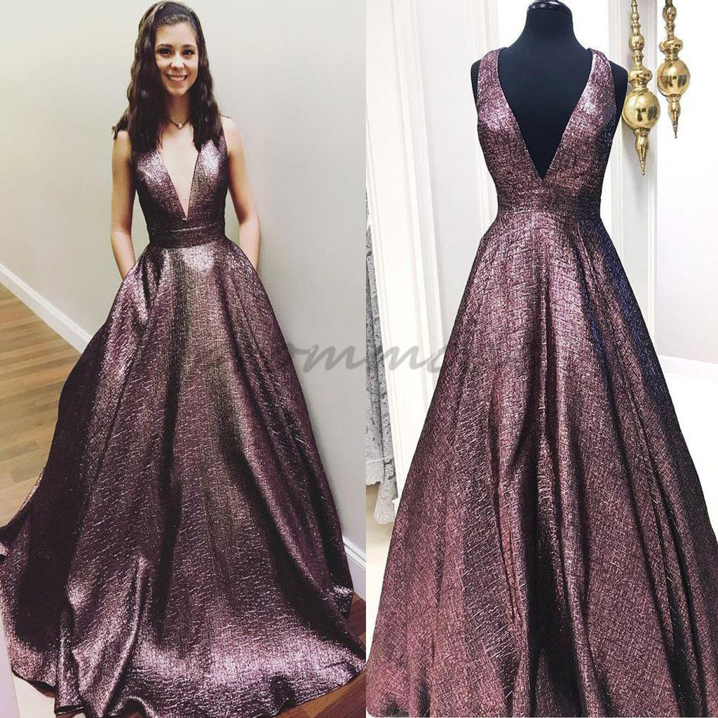 Elegant V Neck A Line Chocolate Long Prom Dress With Pockets ,Evening Dresses,Party Dresses,PDY0337