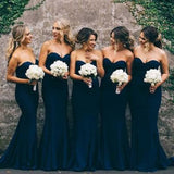 Sweetheart Mermaid Sleeveless Navy Blue Simple Wedding Guest Dresses,Bridesmaid Dresses,WGY0172