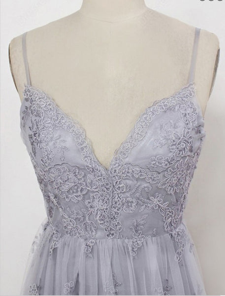 Simple V-neck Grey Spahgetti Straps Tulle Lace Long Prom Dress ,Train Dresses,PDY0363