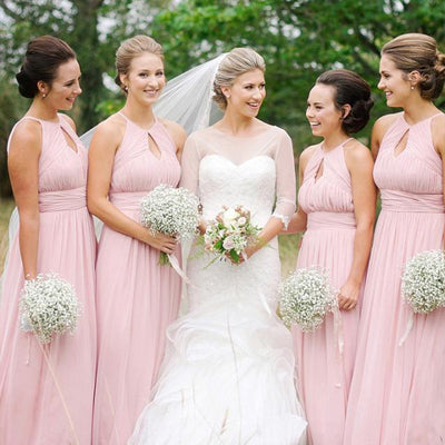 A-line Straps Pink Chiffon Bridesmaid Dress ,Cheap Long Bridesmaid Dresses,WGY0292