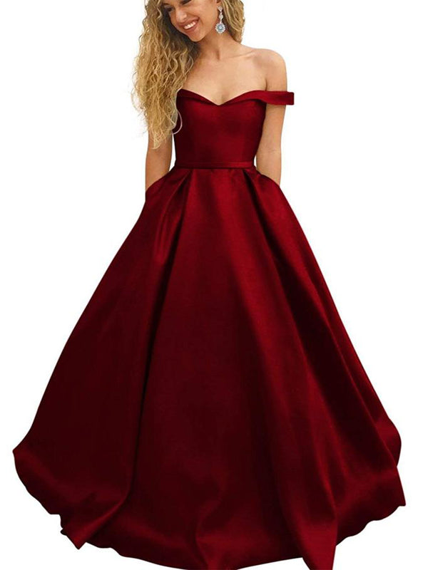 Off-the-Shoulder A-line Burgundy Satin Prom Dress ,Cheap Prom Dresses,PDY0408