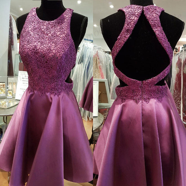 Stunning Purple Lace Applique Homecoming Dresses With Beading,Short Prom Dresses,BDY0184