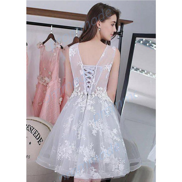 Cute Open Back Organza White Sleeveless Short A-line Homecoming Dress With Lace Applique,BDY0163