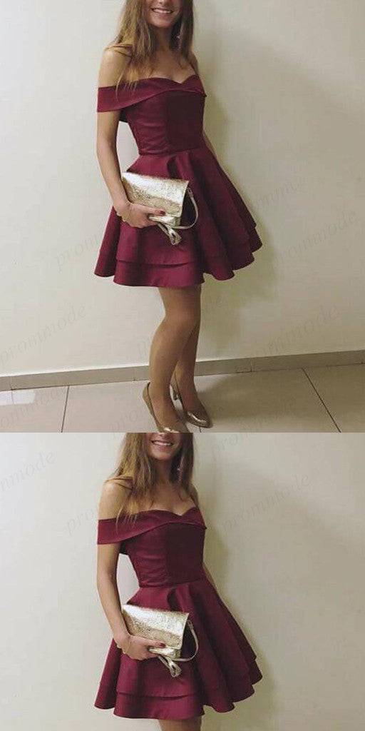 Stunning Burgundy A-Line Off-the-Shoulder Satin Homecoming Dresses ,Short Prom Dresses,BDY0174