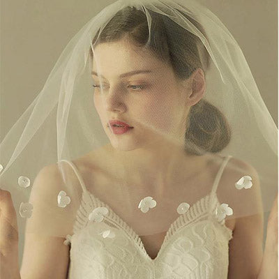 New Arrival Delicate Tulle Long Wedding Veils With Handmade Flowers , WV0109