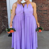 Cheap A-Line Round Neck Lavender Chiffon Long Bridesmaid Dresses ,Formal Evening Dresses,WGY0221