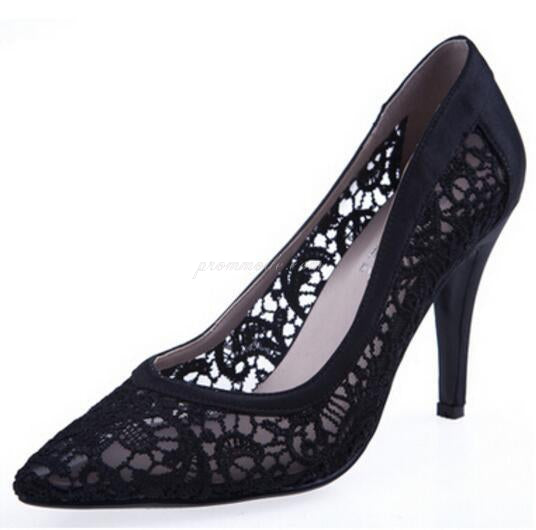 Sexy See Through High Heels Pointed Toe Lace  Wedding Bridal Shoes, SY0134