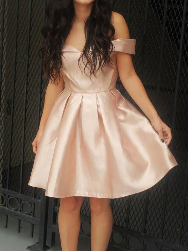 Cheap Simple Off Shoulder Cute Blush Pink Homecoming Dresses CM487