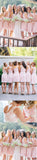 Newest Short White Lace Pink Round Neck Sleeveless Wedding Party Dresses, Bridesmaid Dresses,WGY0144